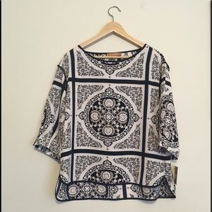 PRICE⬇️ Ellen Tracy 3/4 sleeve patterned blouse